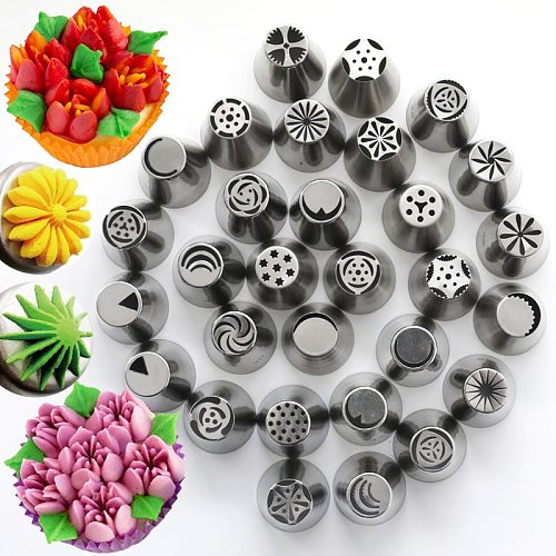 20 Style Cake Tools Russian Piping Tips 304 Stainless Steel Russia Pastry Tube Nozzle Converters Crowded Flower Pastry Tips