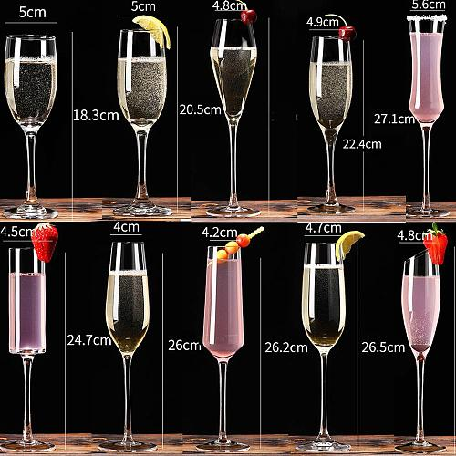 European style Lead-free crystal Champagne set in household sparkling highfoot sweet wine  laser cold cut cup mouth glass