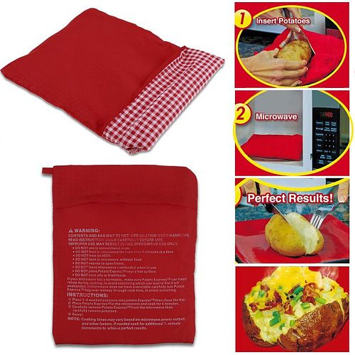 1Pcs Red Washable Cooker Bag Microwave Baking Potatoes Bag Rice Pocket Cooking Easy To Cook Kitchen Gadgets Baking Tool