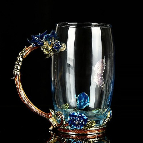 Cup Flower Tea Cup Blue Rose Glass Cup Enamel Cup Home Flower Tea Cup Heat-Resistant Glass Daily Necessities Gift Glass
