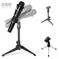 2Colors Microphone Desktop Tripod Stand Foldable Lightweight  Compact Holder  With  Clamp