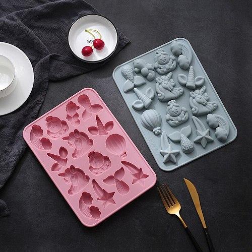 Unicorn Mermaid Tail Rainbow Shape Silicone Mold Cake Decorating Tool Chocolate Soft Candy Mold