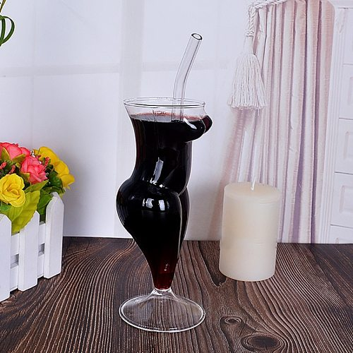 Creative Wine Glass Cup Human Body Shape Bottles Whiskey Beer Glass Cocktail Champagne Glasses Cup For Bar KTV Decor