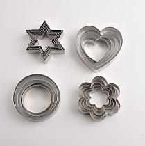 12pcs/set Stainless Steel Cookie Biscuit DIY Mold Star Heart Round Flower Shape Cutter Baking Mould Tools Plunger Bakeware