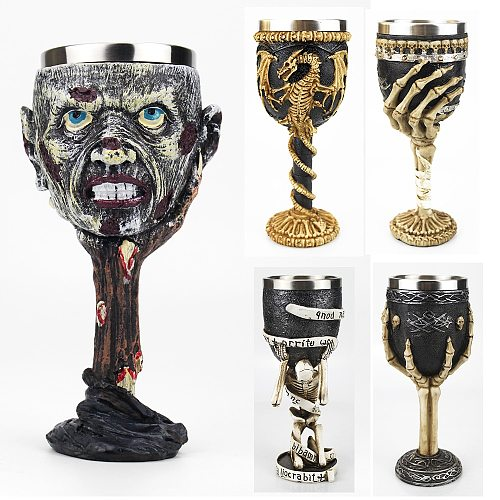 Gothic Wine Goblet Contain Skull Dragon Claw Samoan Retro Stainless Steel&Resin Wine Glass BEST Friend Gifts Bar Drinkware