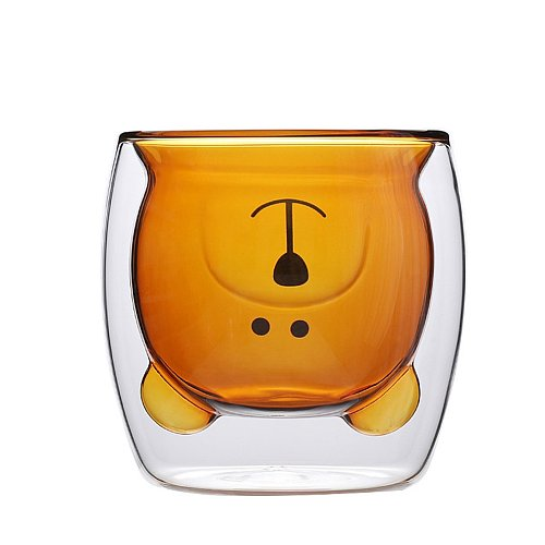 Lightweight Double Glass Inner Layer Vacuum Anti-scalding Family Cute and Creative Bear Cup Cute Gift Cup Coffee Mug