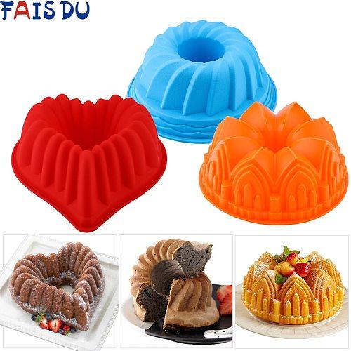 3D Shape Random Color Silicone Pastry Cake Mold DIY Baking Dessert Mousse Cake Baking Tools Art Cake Baking Tray Tool Model