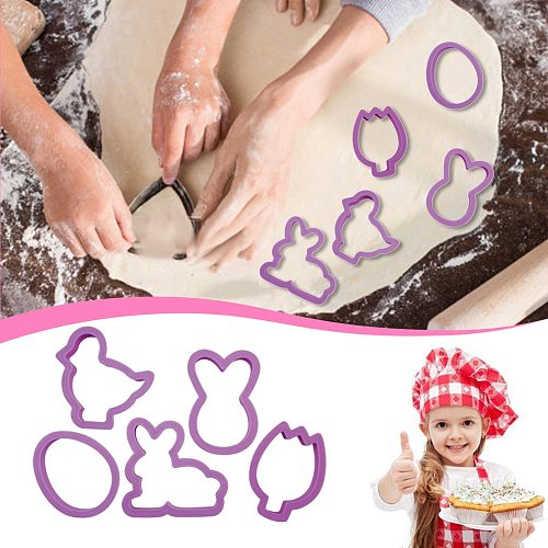 1 Set Easter Egg Rabbit Chick Shape Cookie Cutters Fondant DIY Homemade Biscuit Cutter Mold Pastry Cake Baking Decorating Tools