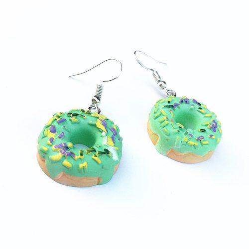 Creative Handmade Simulation Multi Flavor Doughnut Drop Earrings for Women Girls Colorful Funny Mini Fashion Dangle Earrings