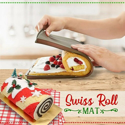 Silicone Rolling Pad Leak Proof Baking Board Oven Mat Rice Ball Swiss Pad Mold Kitchen DIY Round Roll Egg Mold Cake Shop Tools