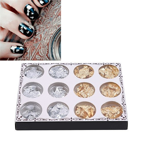 12pcs/1 Box Mixed Colorful Sequin For Nail Art Decorations Diy Design Crystal Nail Glass Nail Art Gold And Silver Foil Tin Foil