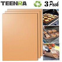TEENRA 3Pcs Gold Reusable BBQ Mat Baking Grill Mat Heat-resistant Baking Mat Non-stick BBQ Liner Baking Sheet