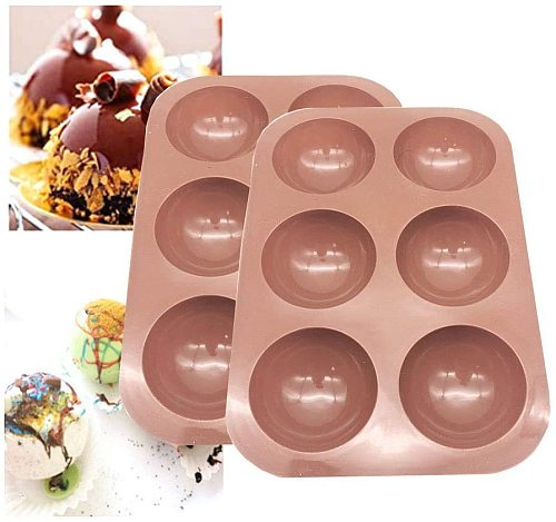 2Pack Bakeware Sets,Medium Semi Sphere Silicone Mold,Baking Mold for Making Hot Chocolate Bomb, Cake, Jelly, Dome Mousse