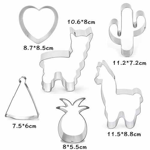 6Pcs Stainless Steel Cookie Cutter Cactus Heart Shaped Alpaca Biscuit Mold Cooking Tools Fondant Cutter Mould Baking Accessories