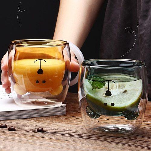 1Pc Cute Bear Shape Double Wall Glass Mug Prevent Scald Double Glass Milk Coffee Cup