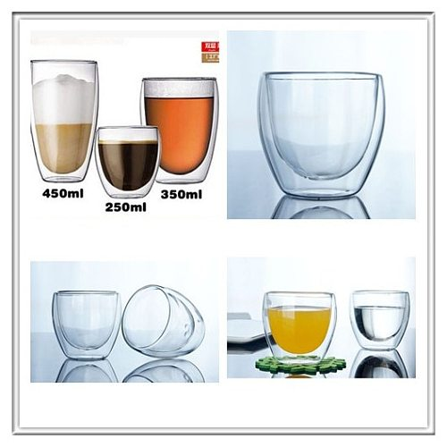 150/250/350/450ML Heat-resistant Double Glass Double Wall Transparent Coffee Cups Insulate Office Juice/Tea /Coffee Beer Glass
