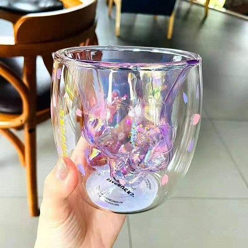 Glass Mugs Cat Claw/Paw Cup Double Wall Glass Mug with Coffee Milk Juice Home Office Cafe Cherry Cup Milk Cherry Pink Gift