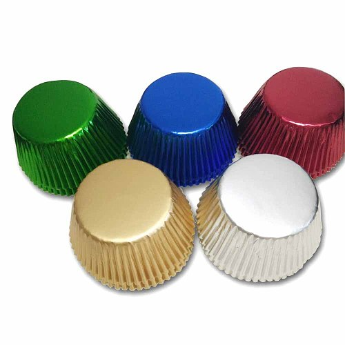 100pcs Gold/Silver/Red/Blue/Black/Rose Foil Paper Cupcake Liners Pure Color Baking Muffin Cup Cake Wrappers Case