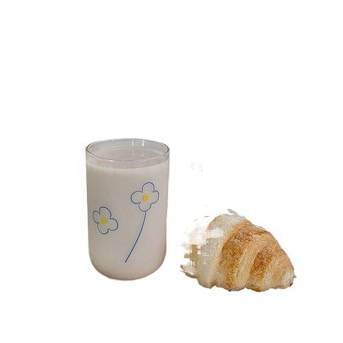 300ml In Korea Glass Water Bottle Office Cup Simplicity Fashion Coffee Mug Gift Transparent Drinkware Milk Flowers