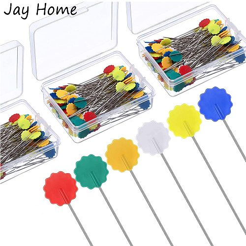 100PCS Flower Head Sewing Pins Colorful Flower Head Quilting Pins Multi-Color Decoration Flat Pins for Sewing DIY Projects