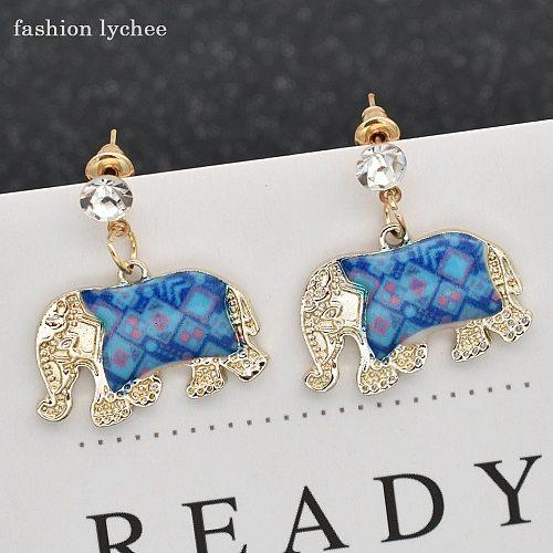 fashion lychee Cartoon Enamel Elephant Dangle Animal India Earrings For Girls Multi Color Vintage Crystal Jhumka Earrings Women