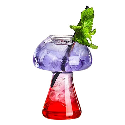 1PC Mushroom Cup Molecular Cuisine Coffee Mojito Beer Pint Cup Pilsner Cooling Thick Feet Tall Glass Bar Party Drinking Utensils