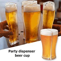 4pcs Beer Glasses Mug Cup Separable 4 part Large Capacity Thick Beer Mug Glass Cup Transparent for Club Bar Party Home