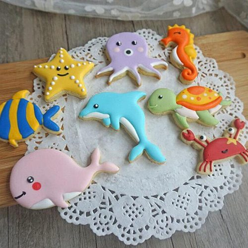 8Pcs/Set Plastic DIY Ocean Theme Cookie Biscuit Cutter Mold Cake Pastry Fondant Mould Stamps Cutter Cake Decorating Tools
