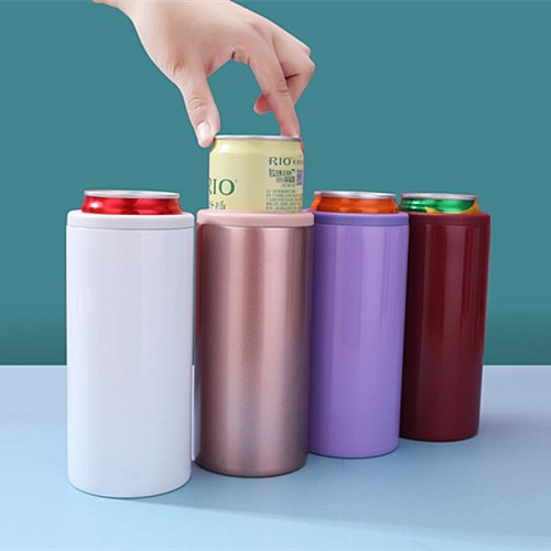 Double-layer vacuum 12oz cola can thermos mug 304 stainless steel beer cold preservation mug household tableware