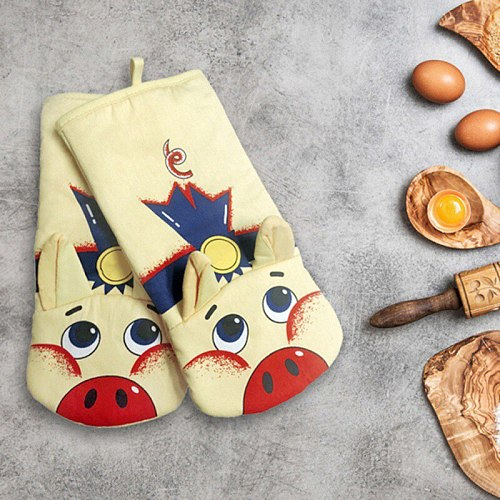 3D Cartoon Animal Cat Paws Oven Mitts Cotton Baking Insulation Glove Long Sleeves Microwave Heat Resistant Non-slip Gloves