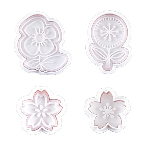 8pcs 3D Flower Pattern Plastic Baking Mold Kitchen Biscuit Cookie Cutter Pastry Plunger Die Fondant Cake Decorating Tools
