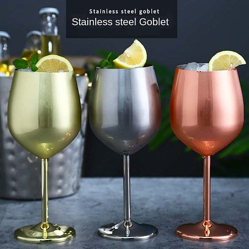 1Pc Wine Glasses Drinkware Stainless Steel Metal Wineglass Bar Wine Glass Champagne Cocktail Drinking Cup Charms Party Supplies
