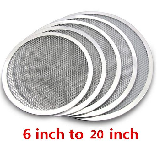 Non stick Pizza Screen Pan Baking Tray Metal Net New Seamless Aluminum Metal Net Bakeware Kitchen Tools Pizza 6-22inch