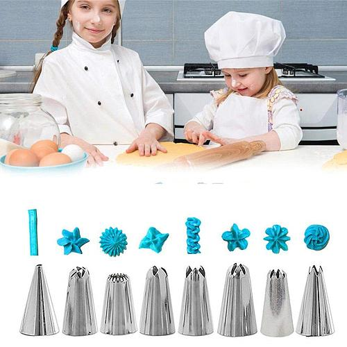 14pc Silicone Kitchen Accessories DIY Cake Decorating Set Icing Piping Cream Pastry Bag With 8 Stainless Steel Nozzle Tips