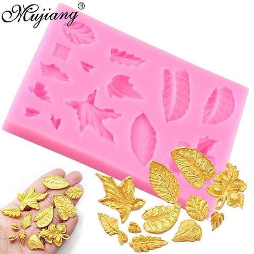 3D Leaf Leaves Set Silicone Mold Cupcake Topper Fondant Cake Decorating Tools Gumpaste Polymer Clay Candy Cookie Chocolate Mould