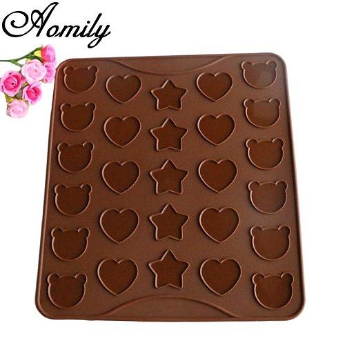 Aomily 3 Shape Baking Mat Heart Stars Bear Lovely Macaroon Mat Pastry Oven Pasta Tool Baking Sheet Tray Liner Mat Cake Pad