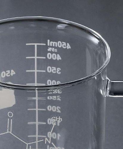 Caffeine Beaker Mug Graduated Beaker Mug with Handle  Borosilicate Glass Cup