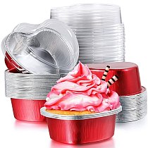 Valentine Aluminum Foil Cake Pan Heart Shaped Cupcake Cup with Lids,Mini Cupcake Cup Flan Baking Cups with Lid