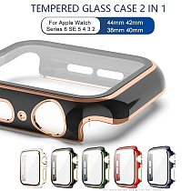 Tempered Glass+Case for Apple Watch 44mm 40mm Series6 SE 5 4 Screen Protector Coverage Bumper Case for Iwatch Series 3 2 38/42mm
