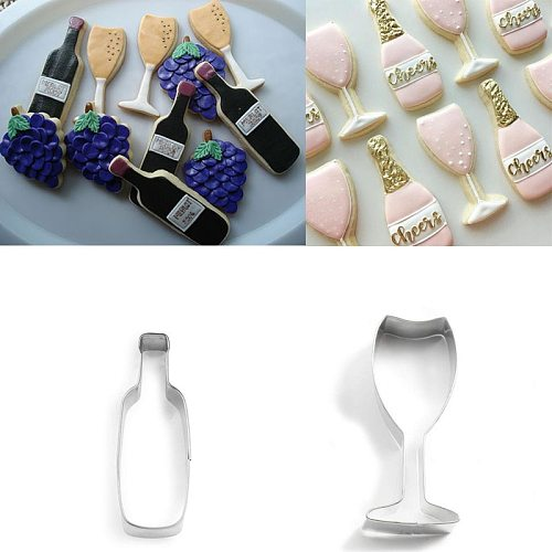 1pcs patisserie reposteria Cocktail Wine Bottle Glass Fondant Cake Decor Cookie Cutter Biscuit Cupcake Toppers Pastry Shop Mould