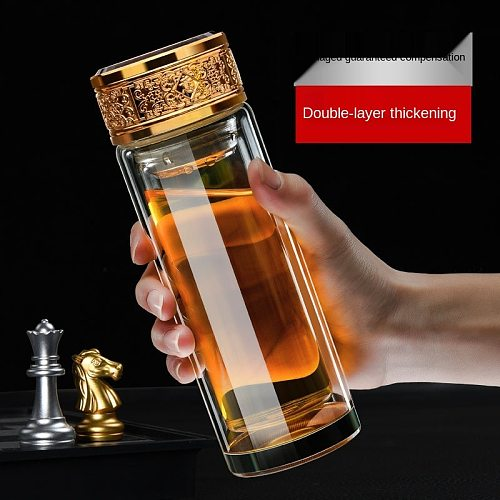 300ml/500ml Thickened double-layer glass drinking cup large-capacity portable household anti-scalding tea cup for men and women