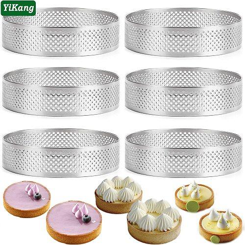 2/5/10pcs Round French Baking Ring Mousse Cake Tart Mould Non-Stick Fruit Cream Pie Pancake Circle Kitchen Pastry Baking Tools
