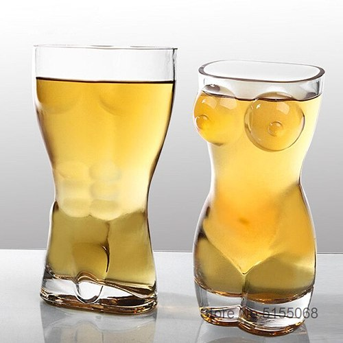 Sexy Nude Beer Steins Pilsner Glass Beer-mug Naked Men Girl Body Funny Naked Guy Wine Tumbler For Bar Cocktail Glasses Party Cup