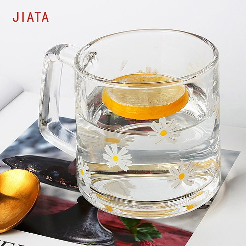 1PC 2PC 4PC New small fresh INS wind hand cup strawberry tulips daisy print milk cup heat-resistant water cup home