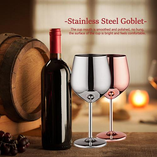 1PCS 500ml Stainless Steel Goblet Champagne Cup Wine Glass Cocktail Glass Creative Metal Wine Glass for Bar Restaurant