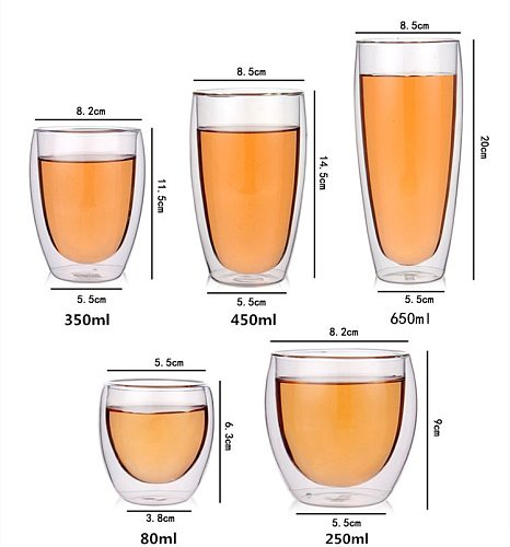 Heat-resistant Double Wall Glass Cup Water Espresso Coffee Cup Set Handmade Beer Mug Tea glass Water Milk Glass Cup Drinkware