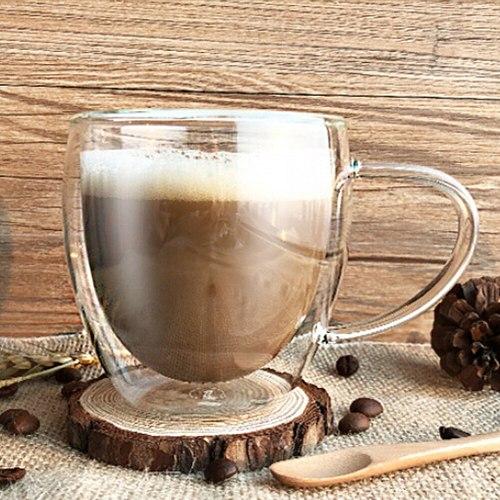 250/350/450ml Double Wall Heat Resistant Glass Cup Office Coffee Tea Handle Mug