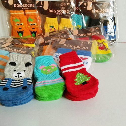 4pcs/set Lovely Cartoon Pets Dog Socks Non-slip Warm Puppy Cat Dog Socks Multi-color Multi-pattern Pattern Skid Bottom Stocking
