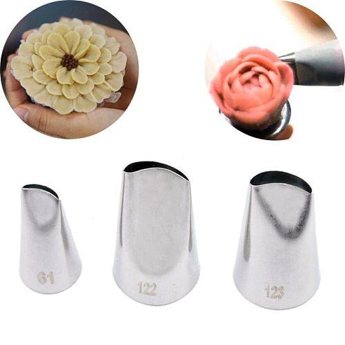 3pcs set Type123 122 61 Stainless Steel Rose Flower Petal DIY Icing Piping Tip Cupcake Cake Cream Piping Nozzle Cake Decorating