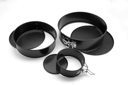 4 / 7 / 9 Inch Three-Piece Suit Non Stick Spring Form Round Black Carbon Cake Baking Bakeware Cake Tier Mold Baking Pan Tray